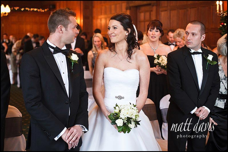 Bride and groom marrying at Dumbleton Hall