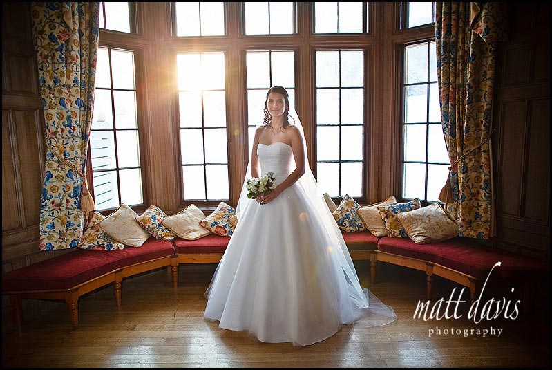 Dumbleton Hall winter wedding photos taken inside