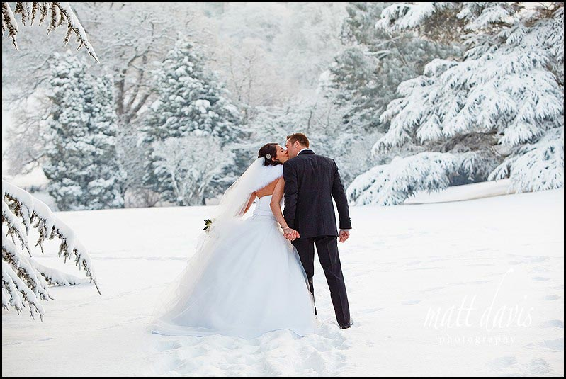 Dumbleton Hall winter wedding photos in snow