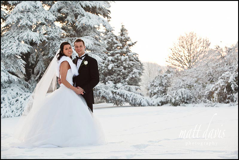 Dumbleton Hall winter wedding photos outside