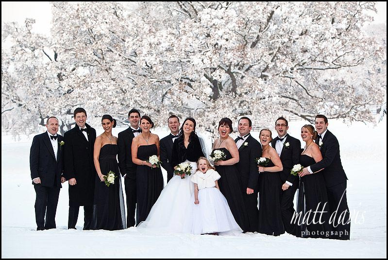 Dumbleton Hall winter wedding group photo