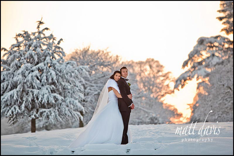 Dumbleton Hall winter wedding photographer