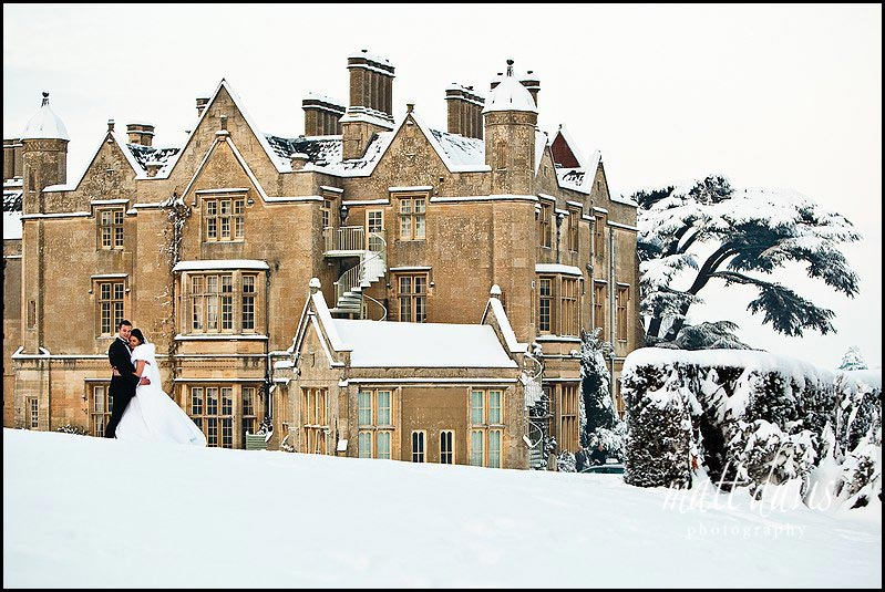 Dumbleton Hall winter wedding photographs