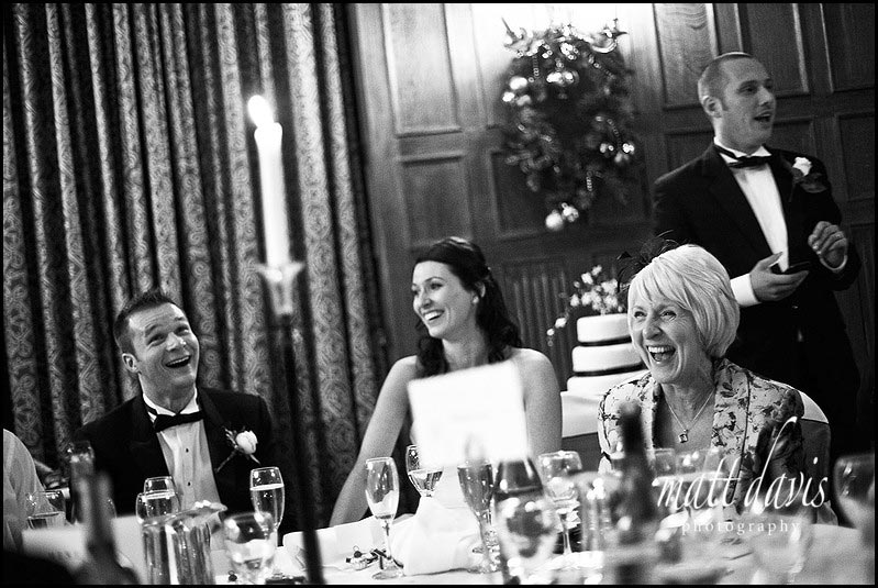 Dumbleton hall wedding speeches mum laughing