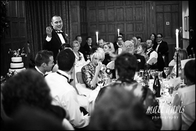 Dumbleton hall wedding speeches with mum crying