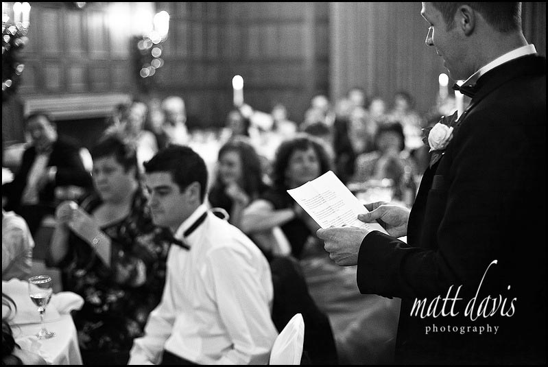 Grooms wedding speech at Dumbleton hall