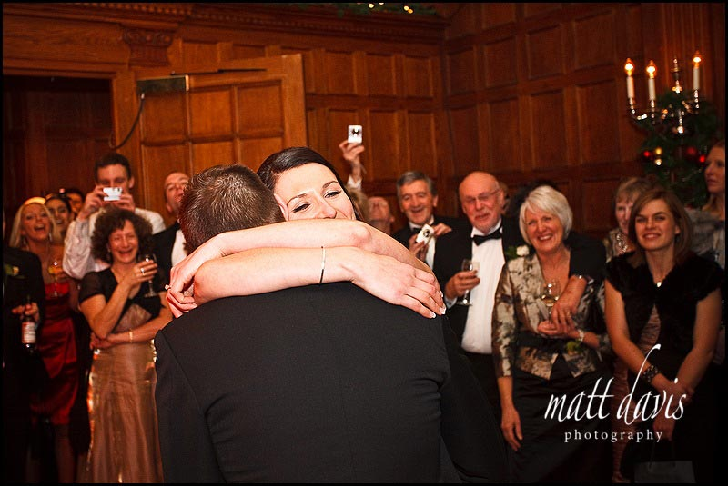 Bride and groom on dance floor at Dumbleton Hall