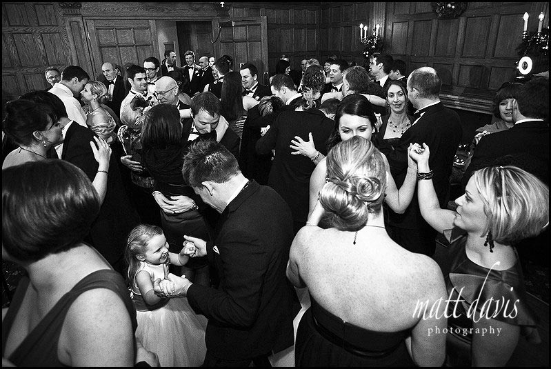 packed dance floor at Dumbleton hall wedding