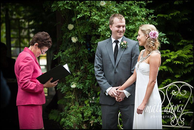 Outdoor wedding ceremony at Friars Court