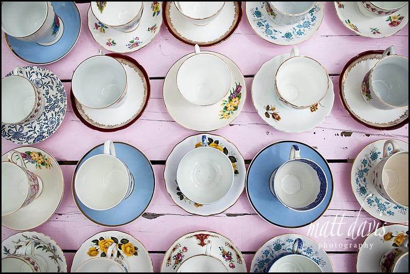 vintage tea cups at wedding drinks reception