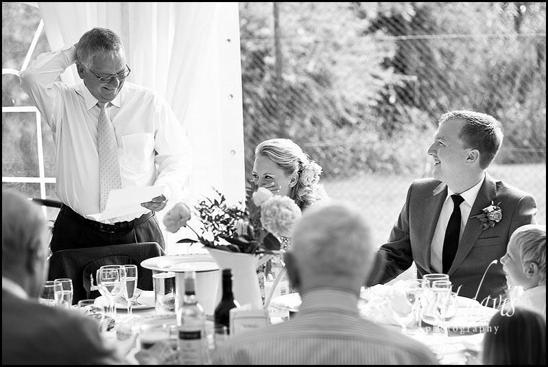 Father of the brides Wedding speech in the marquee at Friars Court