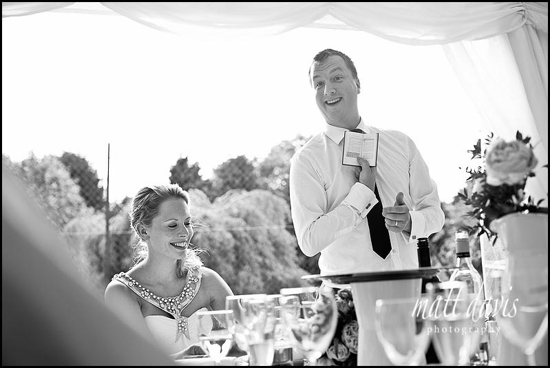 Grooms wedding speech in the marquee at Friars Court