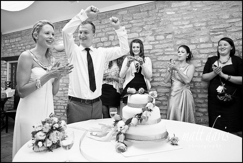 Cake cutting at Friars Court wedding