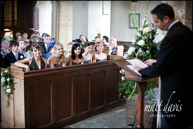 bridesmaids at a wedding in St Mary's Church, Swerford