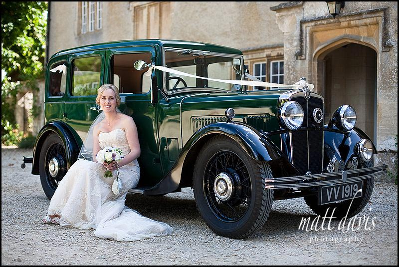wedding photos at Friars Court with vintage wedding car