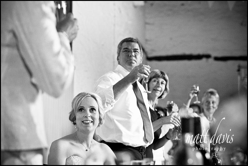 bride smiling during speeches at Friars Court wedding