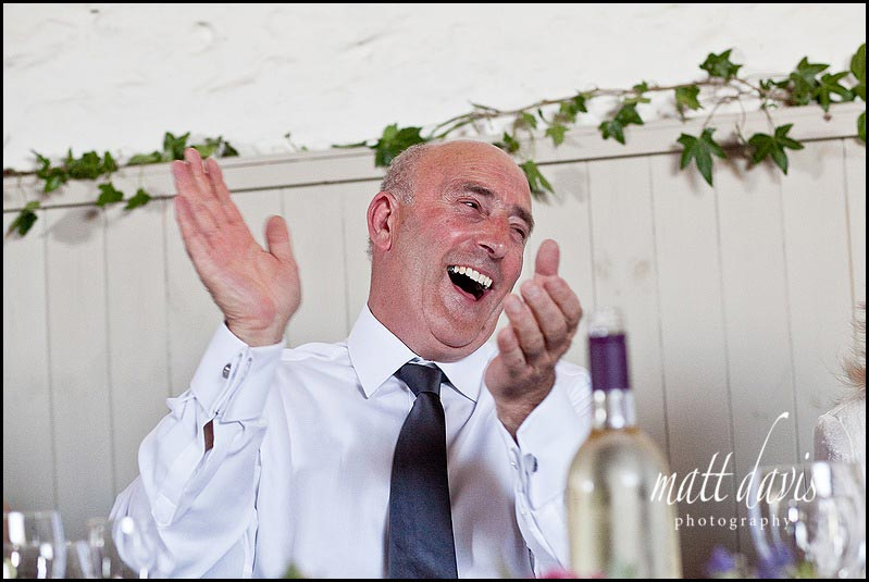 wedding guests laughing during speeches at Friars Court wedding