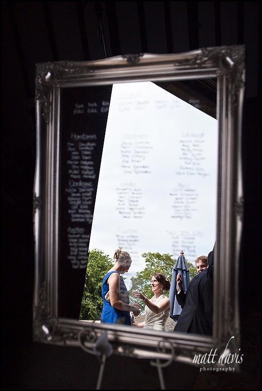Mirror seating plans at weddings