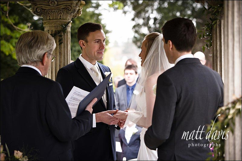 Grooms face during wedding vows