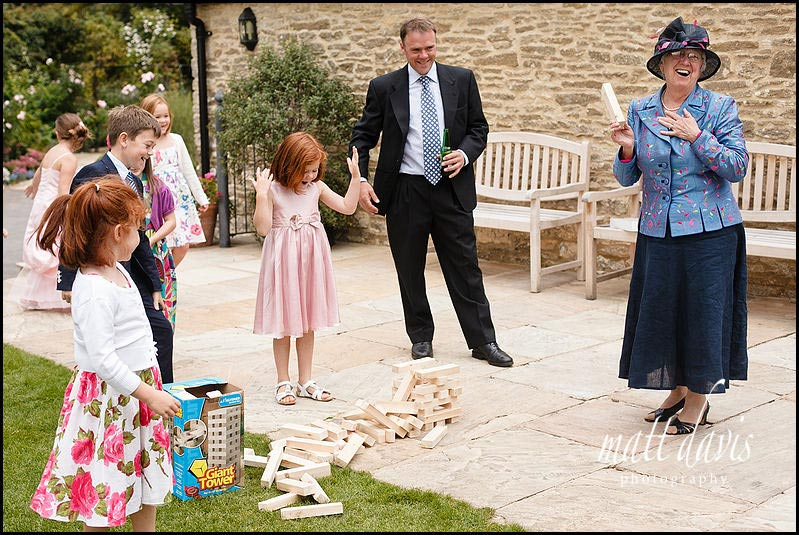outdoor games at Kingscote Barn wedding