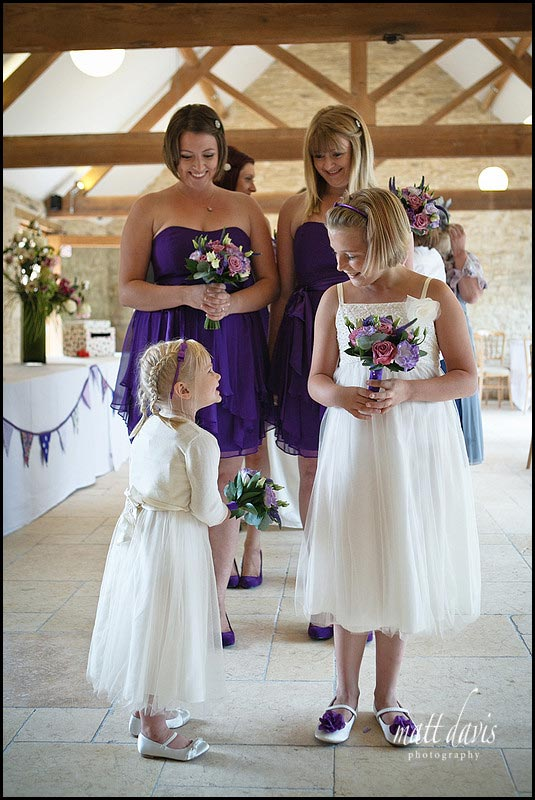 Cute photo of bridesmaids at Kingscote Barn wedding