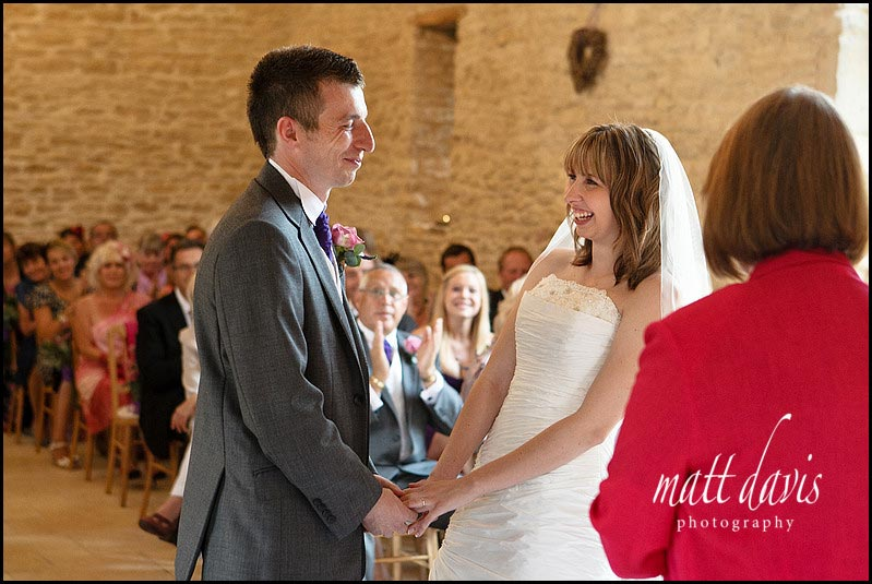 wedding ceremony at Kingscote Barn