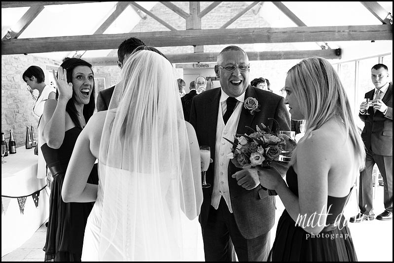 Kingscote Barn wedding photos during the drinks reception