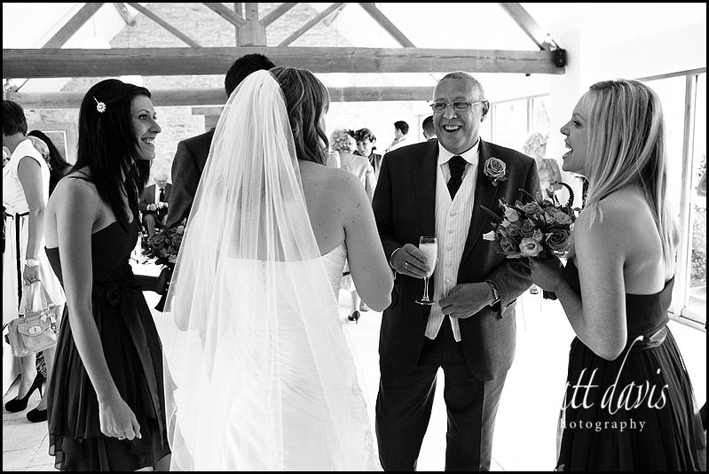 black and white Kingscote Barn wedding photos