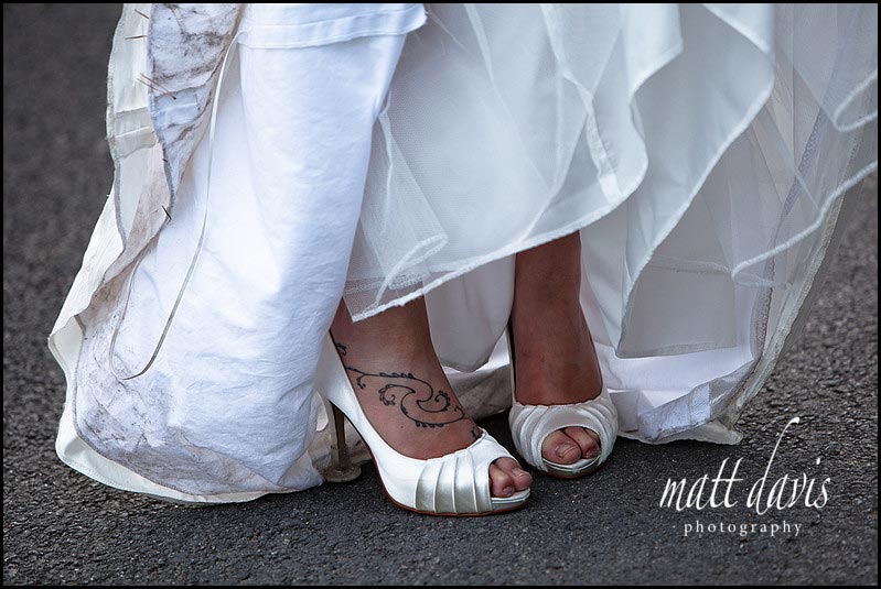 Wedding shoes and tattoo
