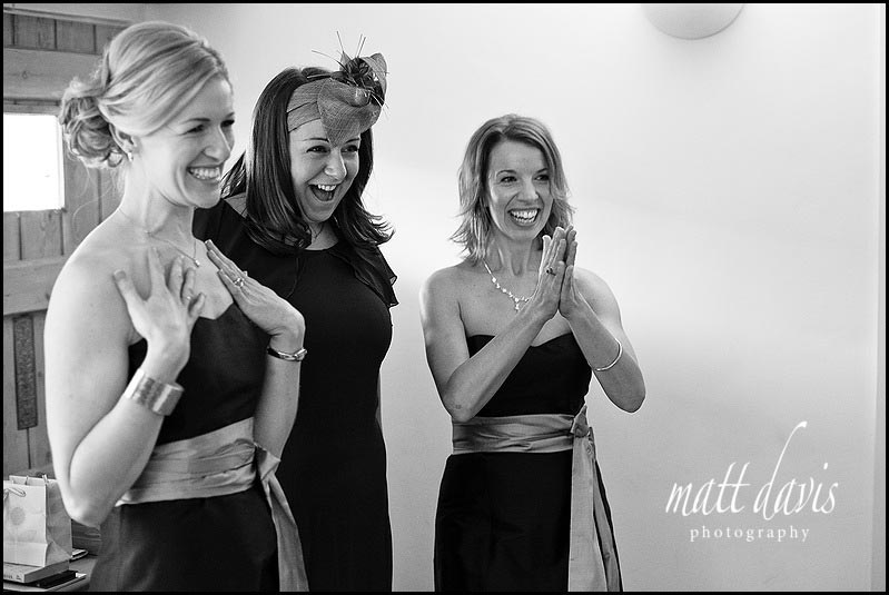 excited bridesmaids at a wedding in Wiltshire