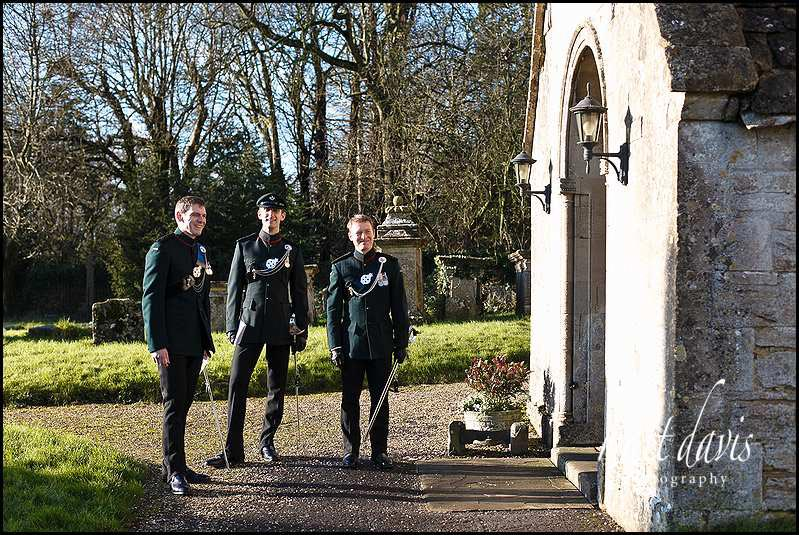 Military wedding outfits for groom and ushers