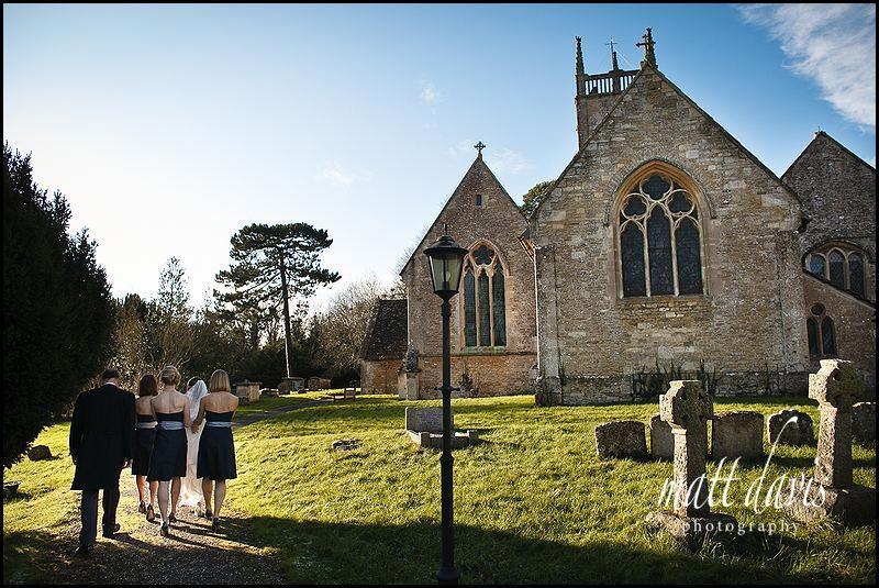 wedding at Kington St Michael Church, Wiltshire