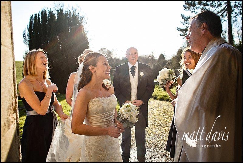 brides arrival at Kington St Michael Church, Wiltshire