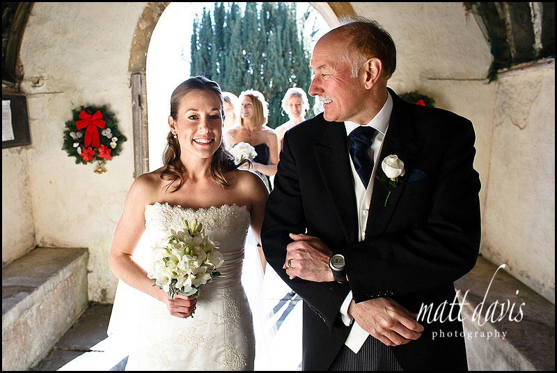bride and father of the bride before wedding at Kington St Michael Church.