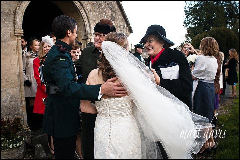 winter wedding at Kington St Michael Church.