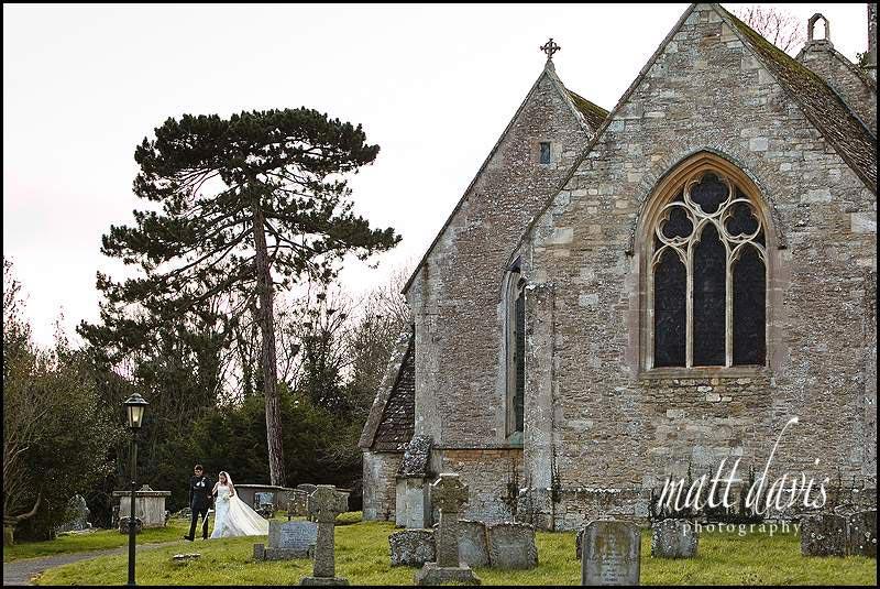 winter wedding photos at Kington St Michael Church.
