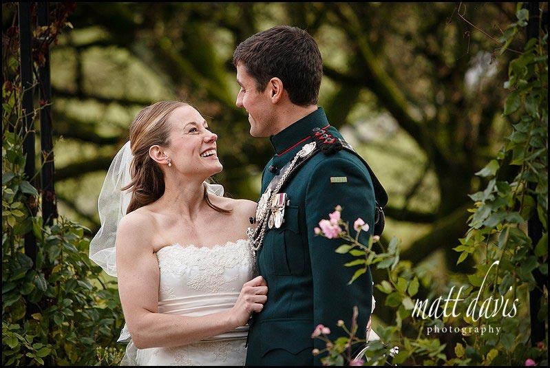 Kingscote Barn winter wedding photos in the small garden