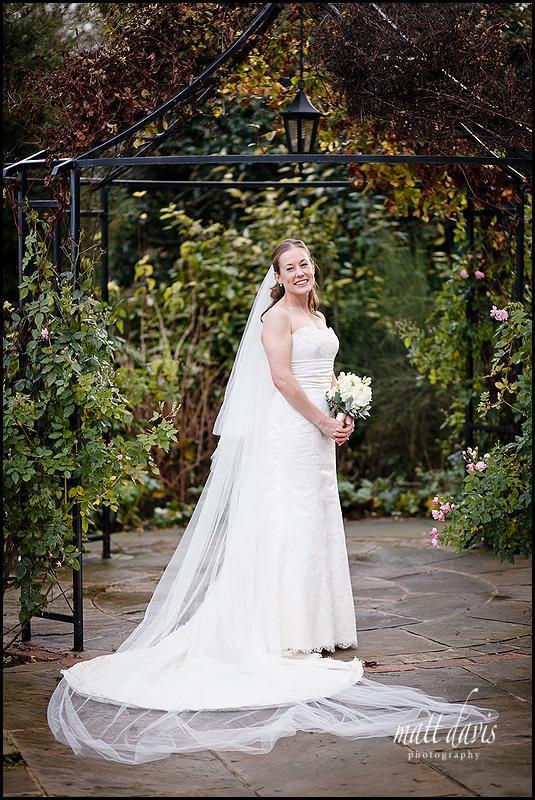 Kingscote Barn winter wedding photo of the bride