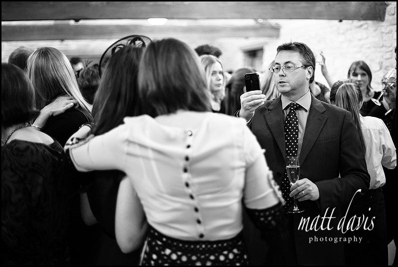 black and white photo of winter wedding drinks reception