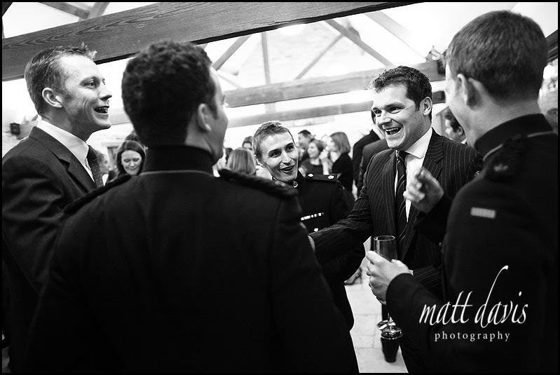 a winter wedding reception at Kingscote Barn