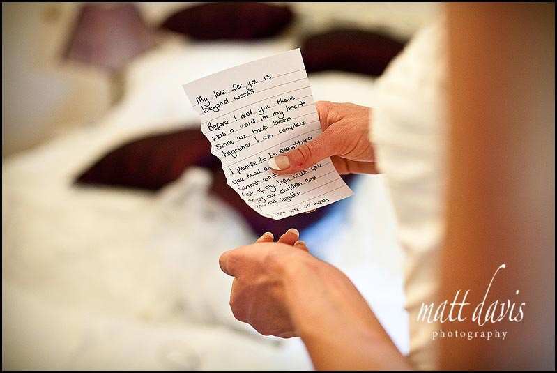love note on your wedding day