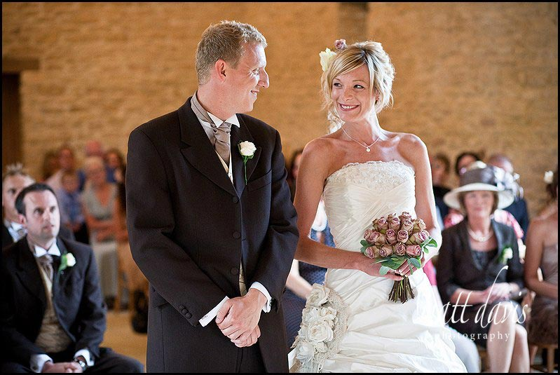 Kingscote Barn wedding photography at the ceremony