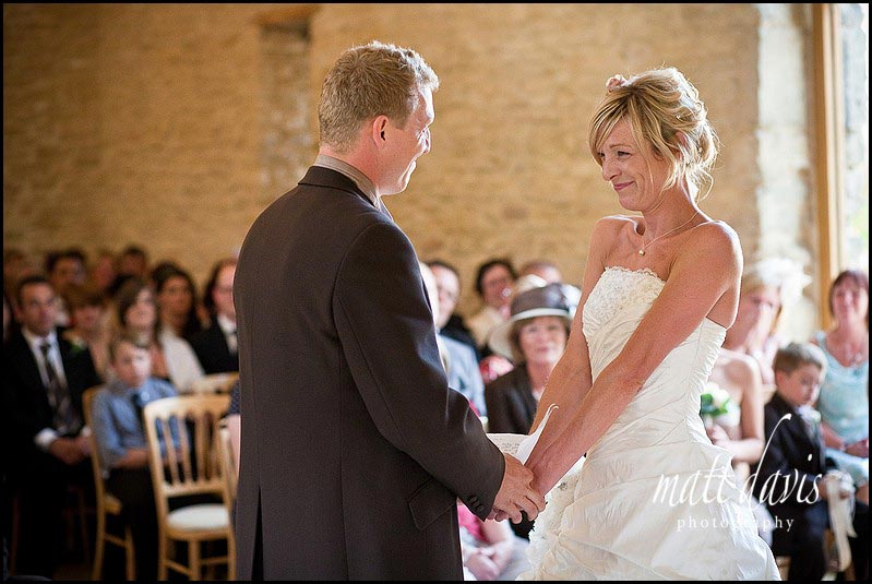 Kingscote Barn wedding photography during the ceremony