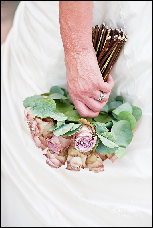 brides bouquet used in marketing literature by Kingscote Barn