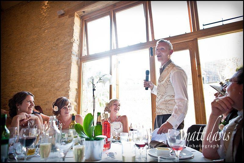 groom making wedding speeches at Kingscote Barn