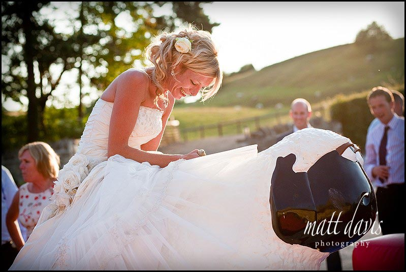 unique wedding entertainment at Kingscote Barn wedding