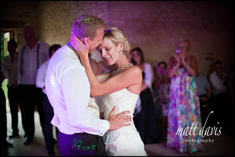 wedding couple on the dance floor at Kingscote Barn