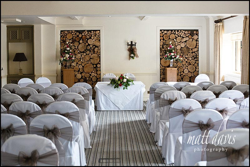 inside Manor House Hotel set for a wedding ceremony
