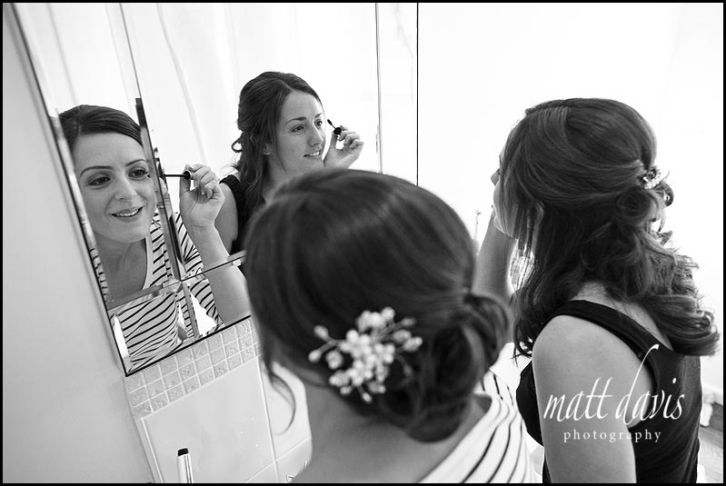 wedding make up being done at Manor House Hotel wedding