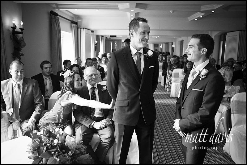 comedy photo of groom at Manor House Hotel wedding